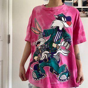Vintage Tie Dye Pink Looney Tunes T-shirt